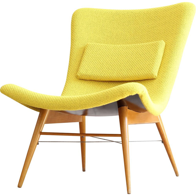 Vintage lounge chair by Miroslav Navratil in Yellow Kvadrat Fabric