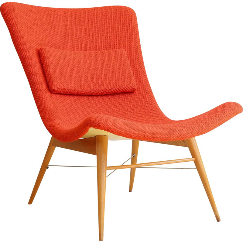 Vintage lounge chair by Miroslav Navratil in Red Kvadrat Fabric