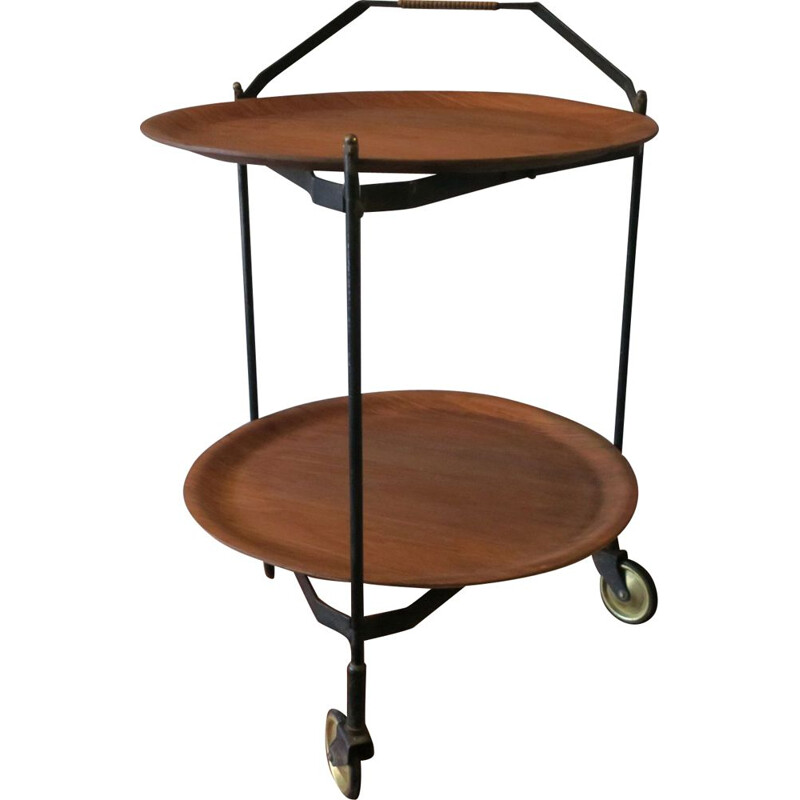 Vintage Scandinavian foldable teak serving trolley from Ary Fanerprodukter
