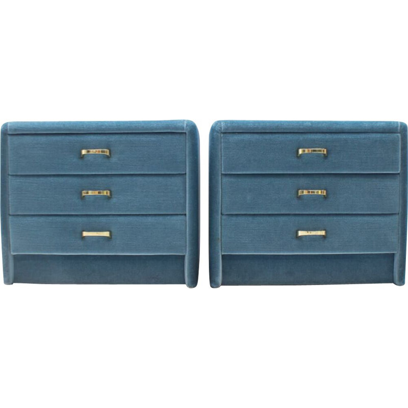 Set of 2 vintage blue velvet nightstands, 1960s