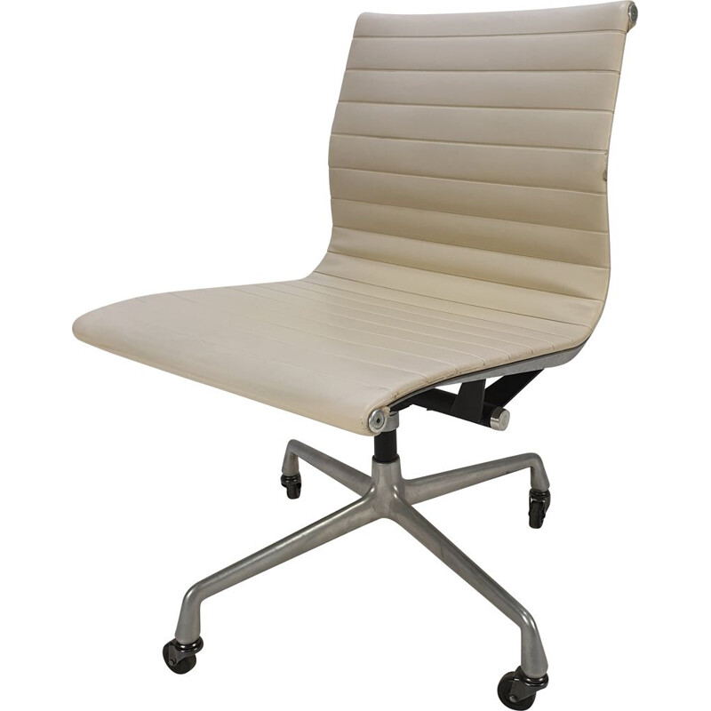 Vintage aluminum & skai swivel desk chair by Charles & Ray Eames for Herman Miller