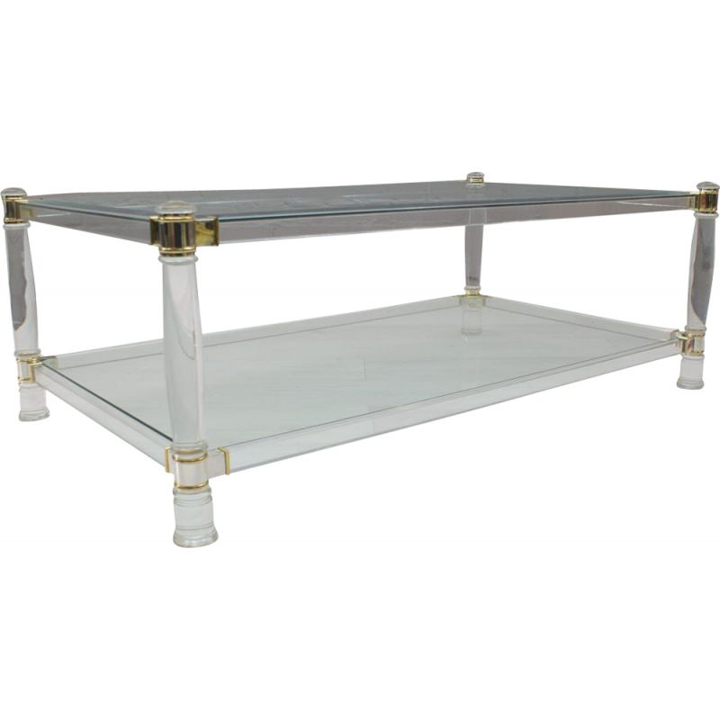 Vintage acrylic, brass, chrome, and glass coffee table