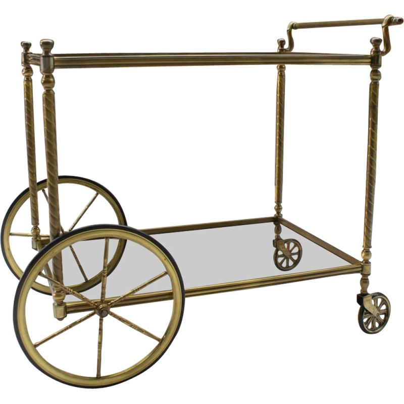 Vintage French brass & smoked glass serving bar cart