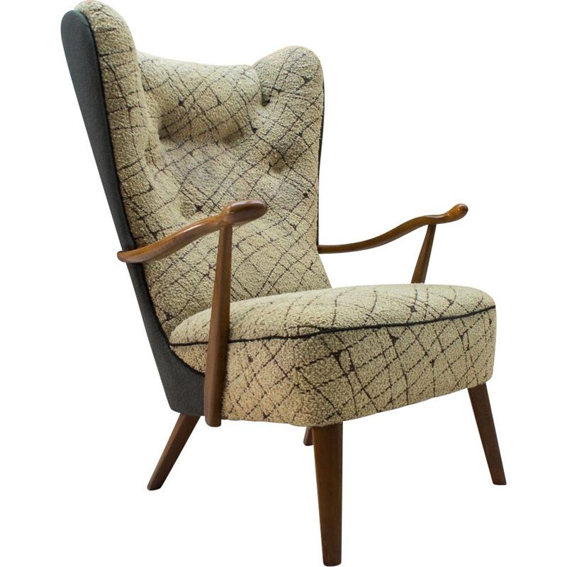 Vintage cocktail Wingback armchair in beige fabric 1950s