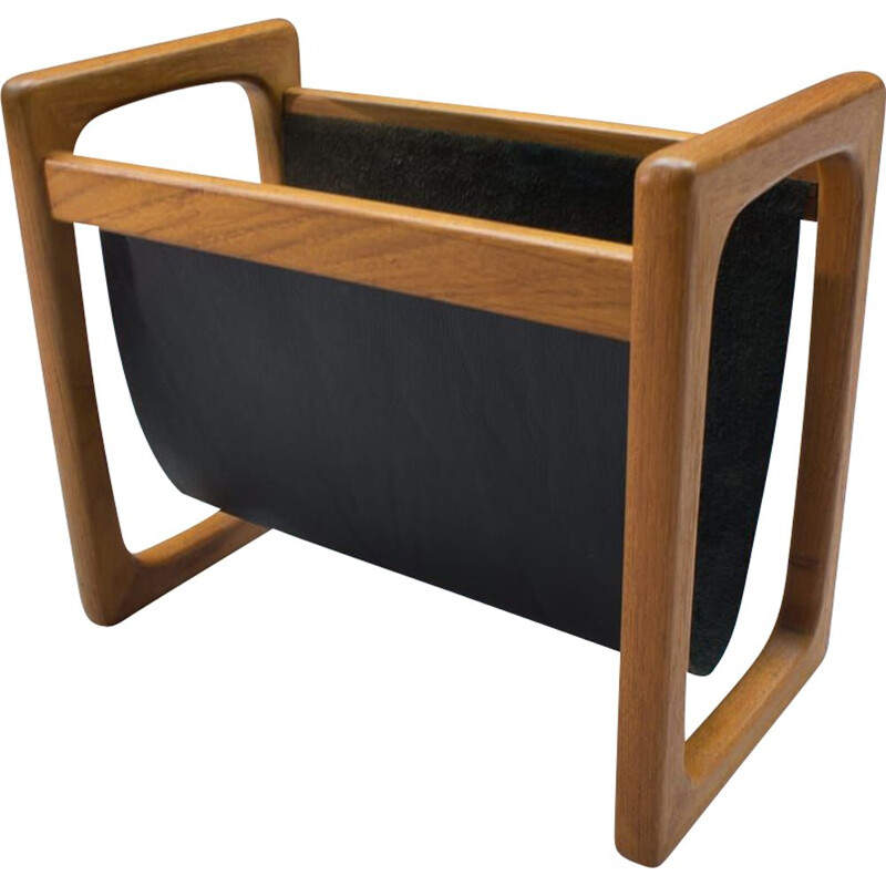 Vintage scandinavian magazine rack in teak and black leather 1970s