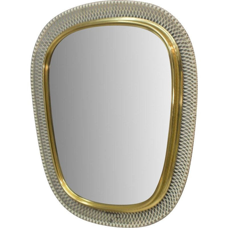 Vintage wall mirror in white and golden metal 1950s