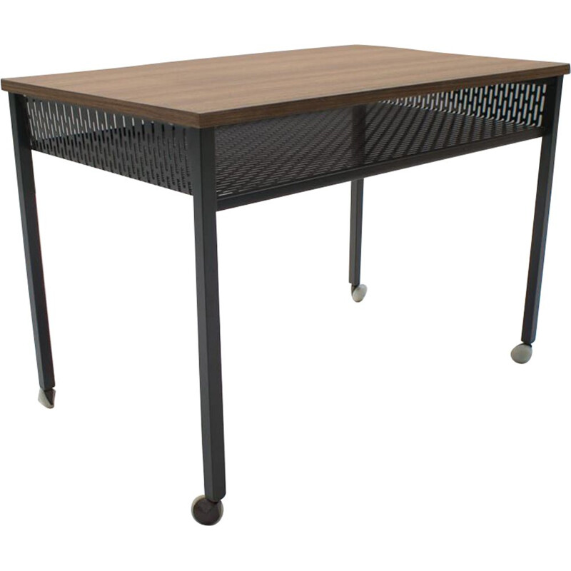 Vintage rolling table in formica and perforated metal 1960s