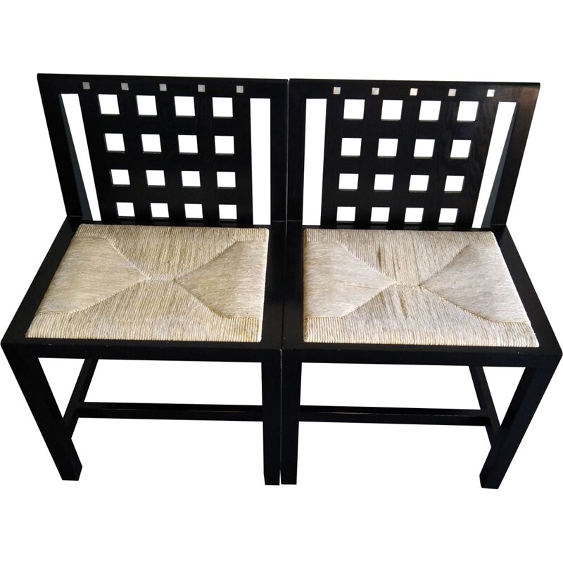 Pair of vintage chairs by Charles Rennie in black lacquered wood 1980s