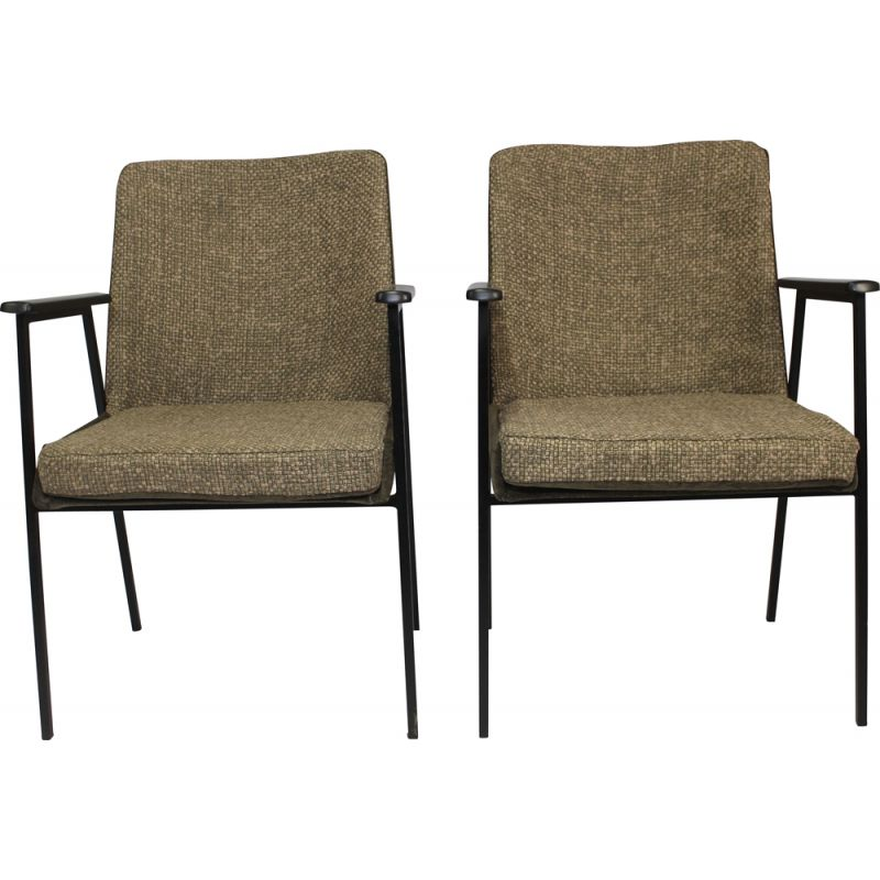 Pair of vintage armchairs for Mauser in brown fabric 1960