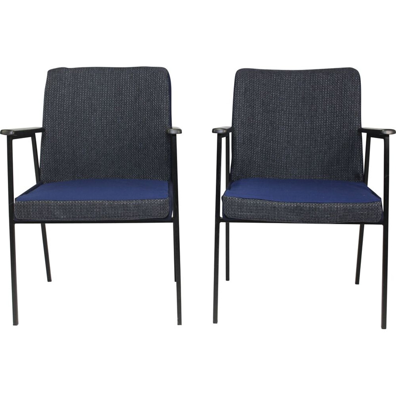 Pair of vintage armchairs for Mauser in midnight blue fabric 1960