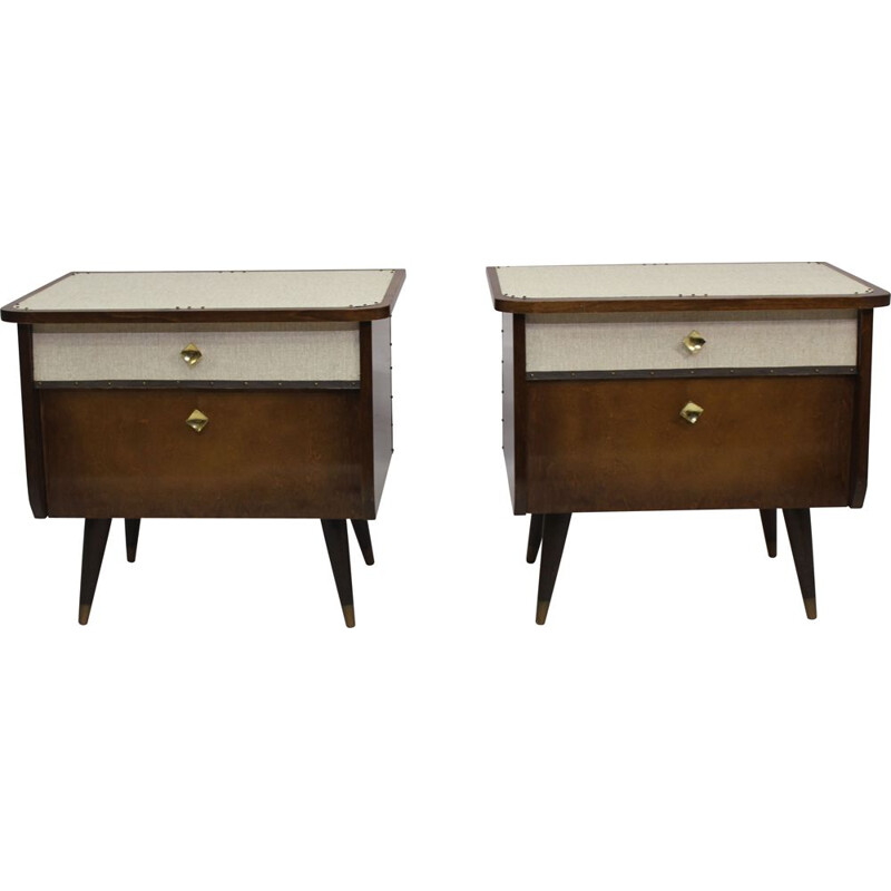 Pair of vintage french bedside tables in plywood 1960