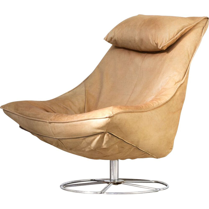Vintage Delantra armchair for Montis in beige leather 1970s
