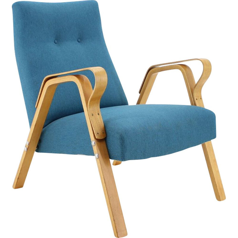 Vintage armchair for Tatra in blue fabric and wood 1970s