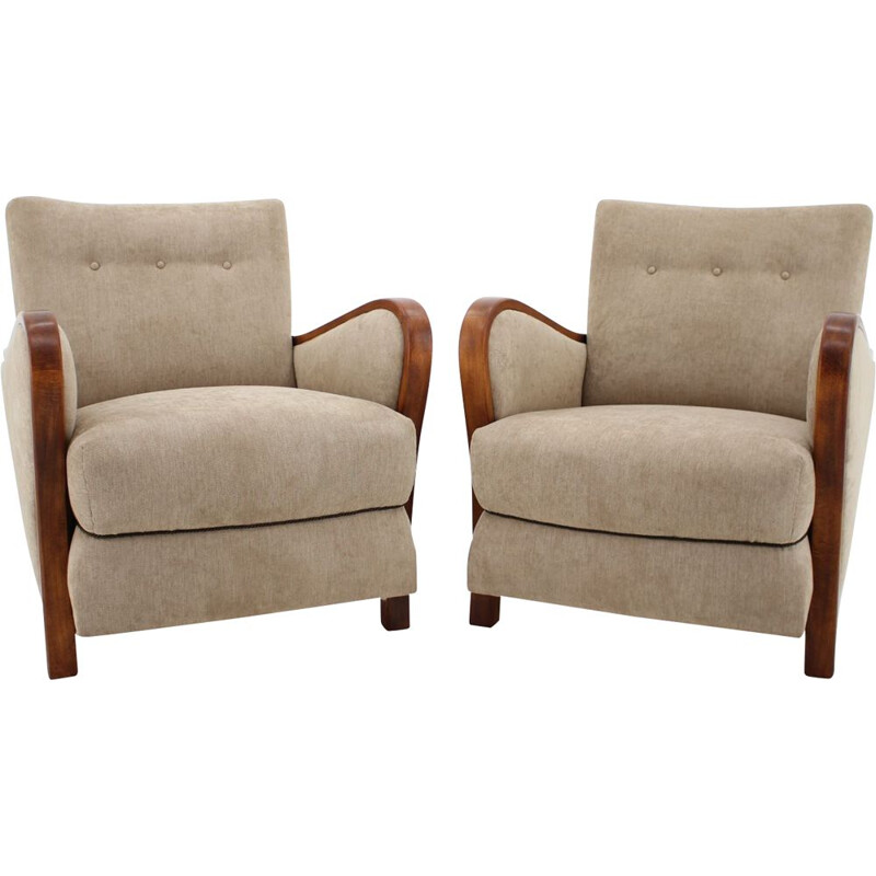 Pair of vintage Art Deco Armchairs in beige fabric and wood 1930s