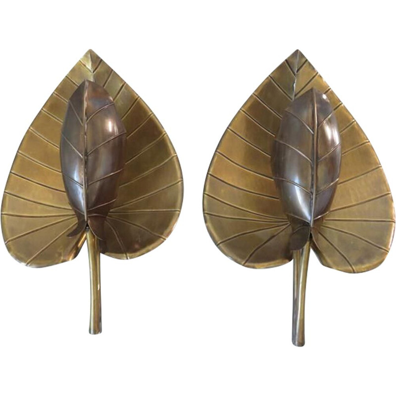 Pair of vintage wall lamps water lily with gilded brass leaf 1970