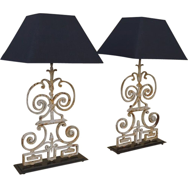 Pair of vintage lamps cast iron France 1930