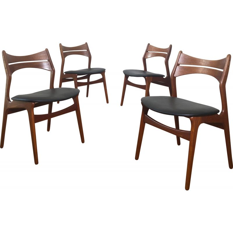 Set of 4 vintage chairs model 310 by Erik Buch, 1960