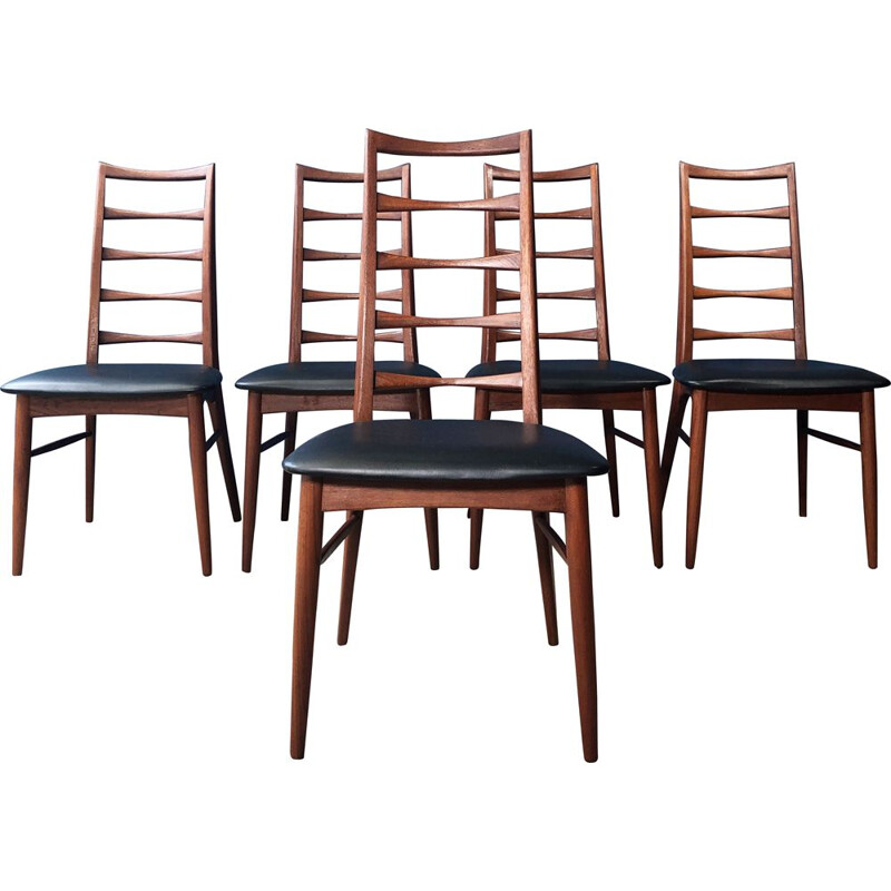 Set of 5 vintage chairs Danish model Liz by Niels Koefoed, 1960