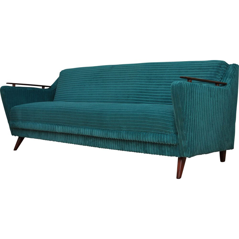 Vintage folding sofa bed green 1960s