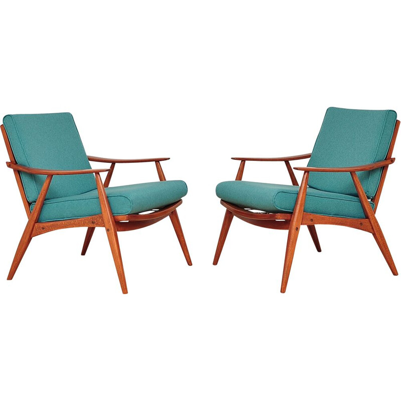 Set of 2 vintage armchairs pastel green 1960s