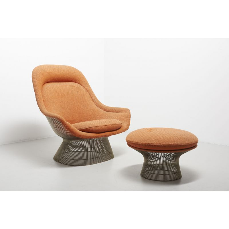 Cool Vintage 1705 Lounge Chair With Footrest For Knoll International In Orange Fabric 1960S Andrewgaddart Wooden Chair Designs For Living Room Andrewgaddartcom