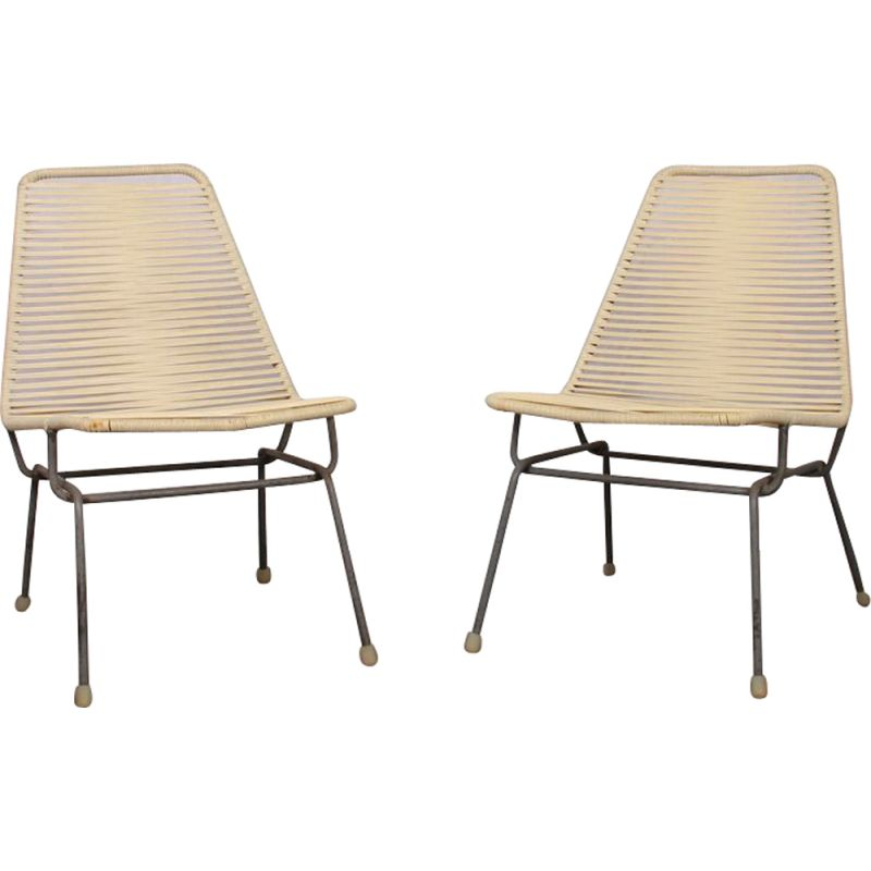 Pair of vintage Czech armchairs in scoubidou, 1960