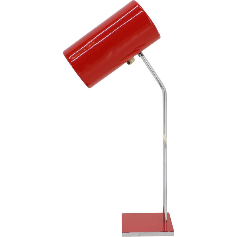 Vintage red table lamp Lidokov, 1960