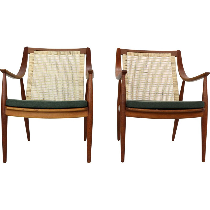 Set of 2 vintage Peter Hvidt and Orla Mølgaard-Nielsen FD146 cane back easy chairs
