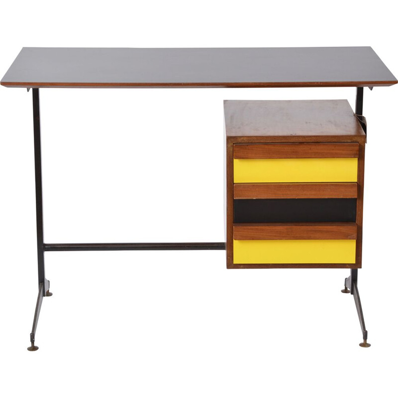 Vintage Italian desk with black and yellow drawers