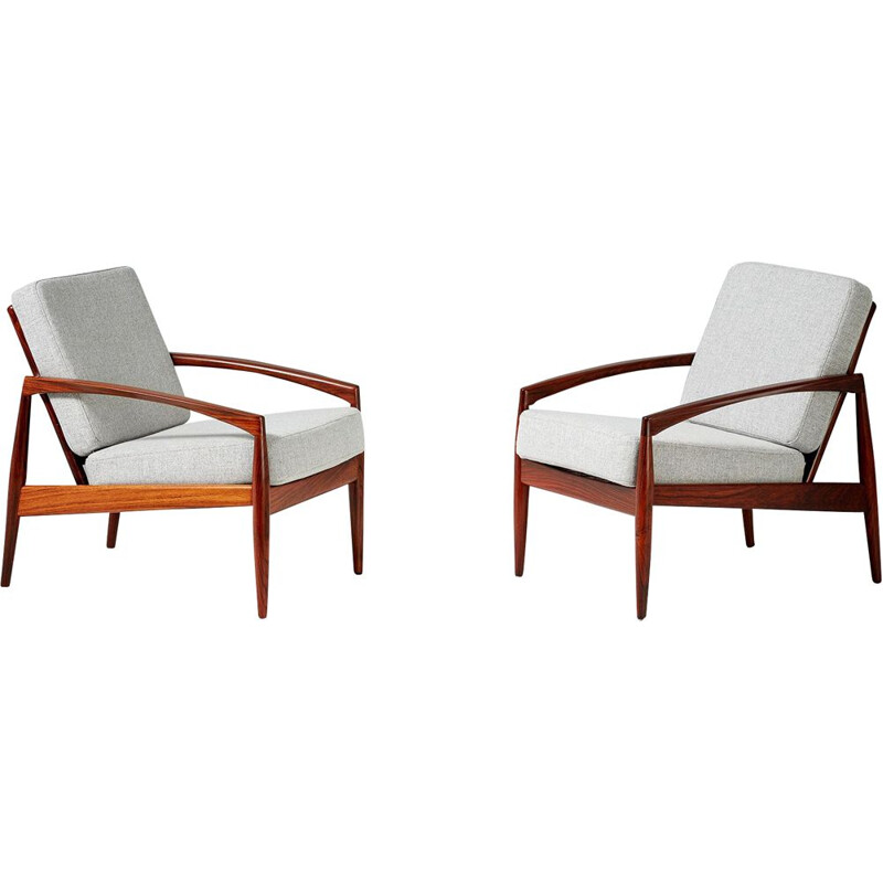 Set of 2 vintage Kai Kristiansen rosewood Paper Knife lounge Chairs