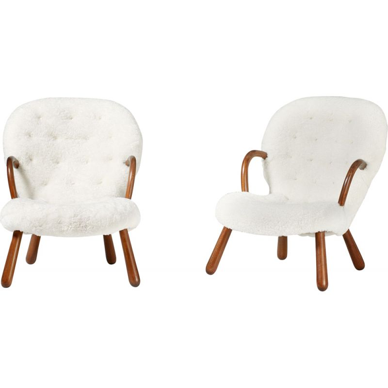 Set of 2 vintage Philip Arctander The Clam Chair, 1944