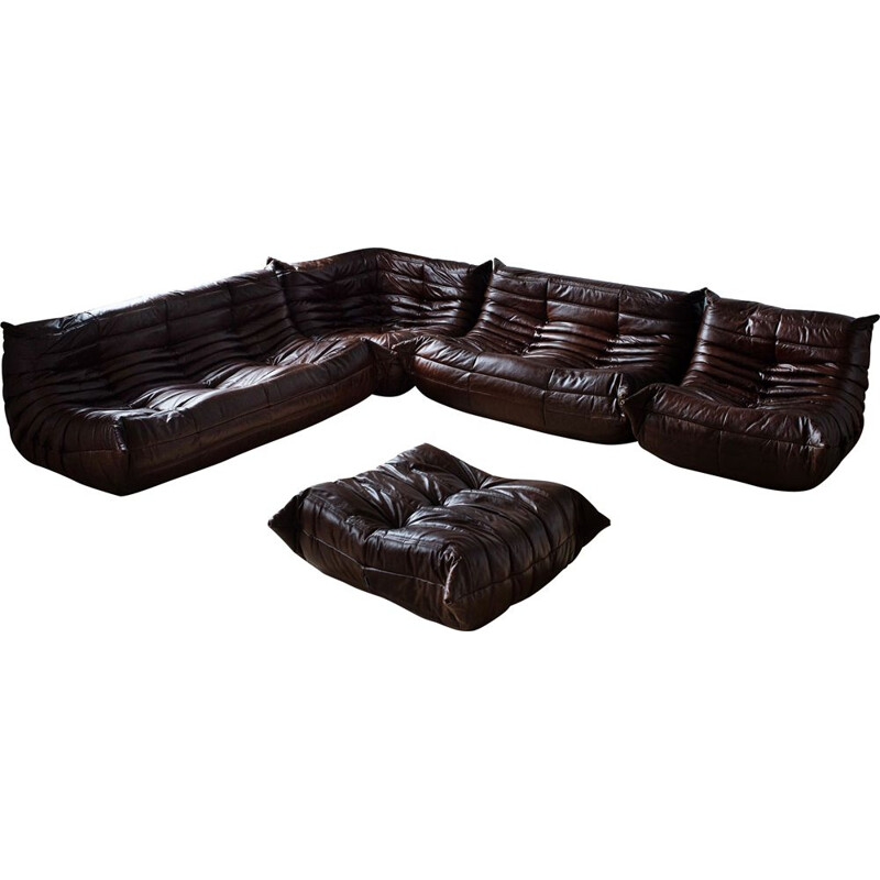 Vintage Togo living room set for Ligne Roset in brown leather 1970s