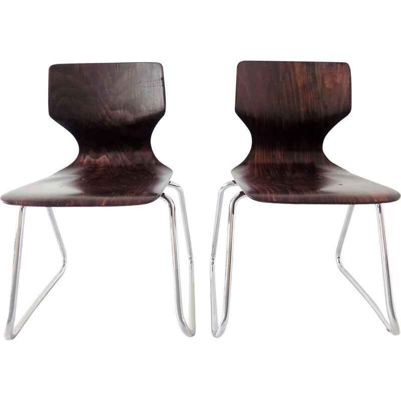 Pair of vintage german children chairs for Flötotto in wood 1970s