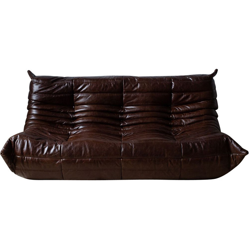 Vintage 3-seater sofa Togo for Ligne Roset in brown leather 1970s