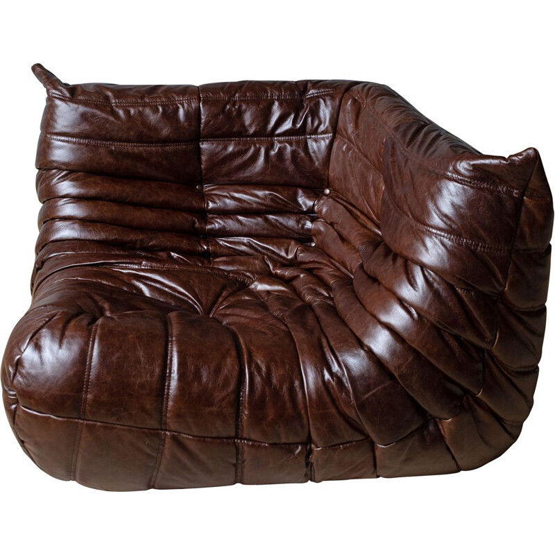 Vintage Togo corner couch for Ligne Roset in brown leather 1970s