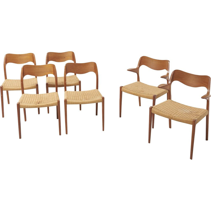 Set of 6 vintage chairs for J.L. Møllers in teakwood and papercord 1950s