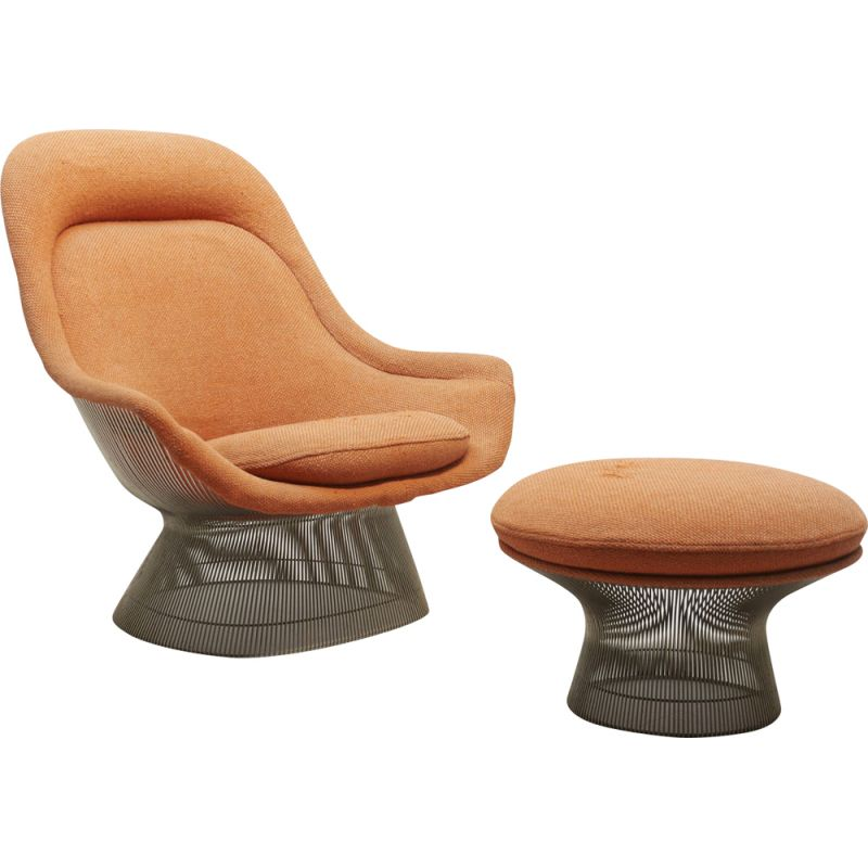 Vintage 1705 lounge chair with footrest for Knoll International in orange fabric 1960s