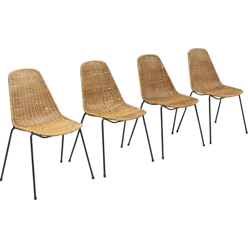 Set of 4 vintage chairs by Gian Franco Legler in rattan 1950s
