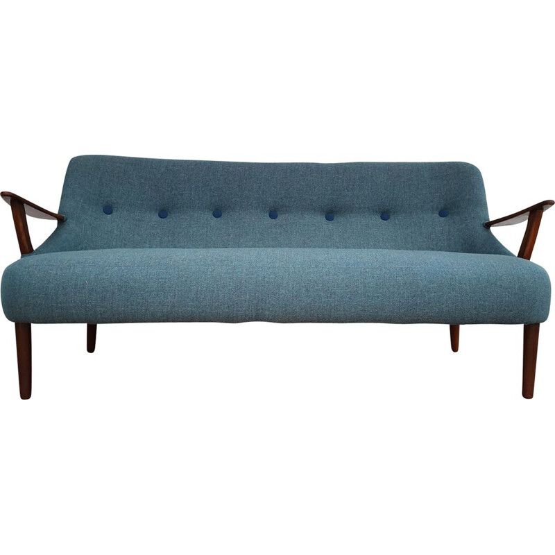 Vintage danish 2,5 seater sofa in beechwood and blue fabric 1960s