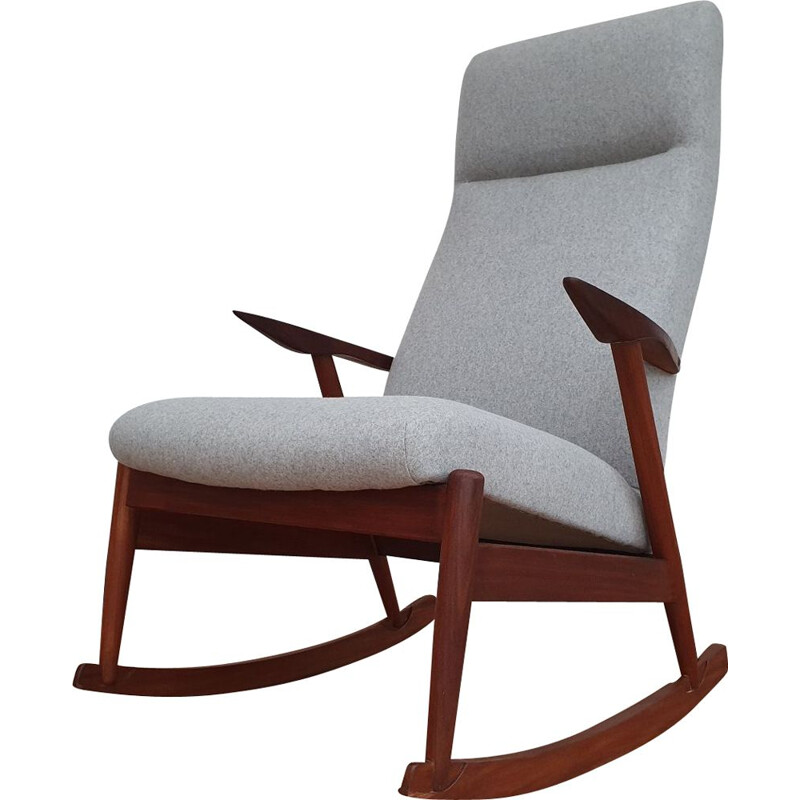 Vintage scandinavian rocking chair in teak and grey wool 1960s