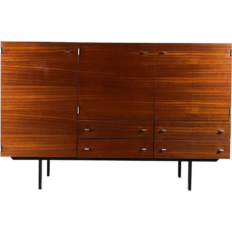 Vintage sideboard for Meurop in teak and aluminium 1960