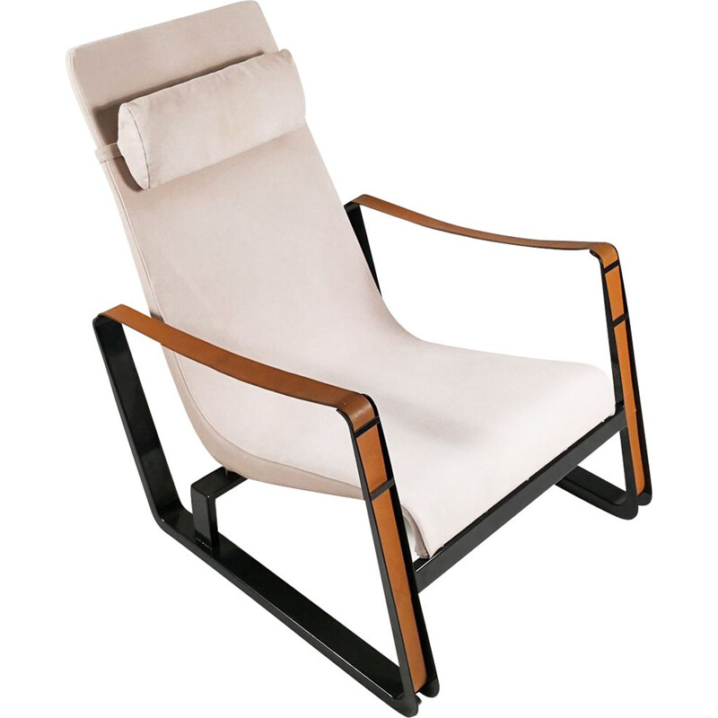 Vintage Cité armchair by Jean Prouvé for Vitra in leather and steel