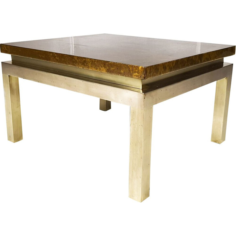Vintage coffee table for Maison Jansen in wood and brass 1960