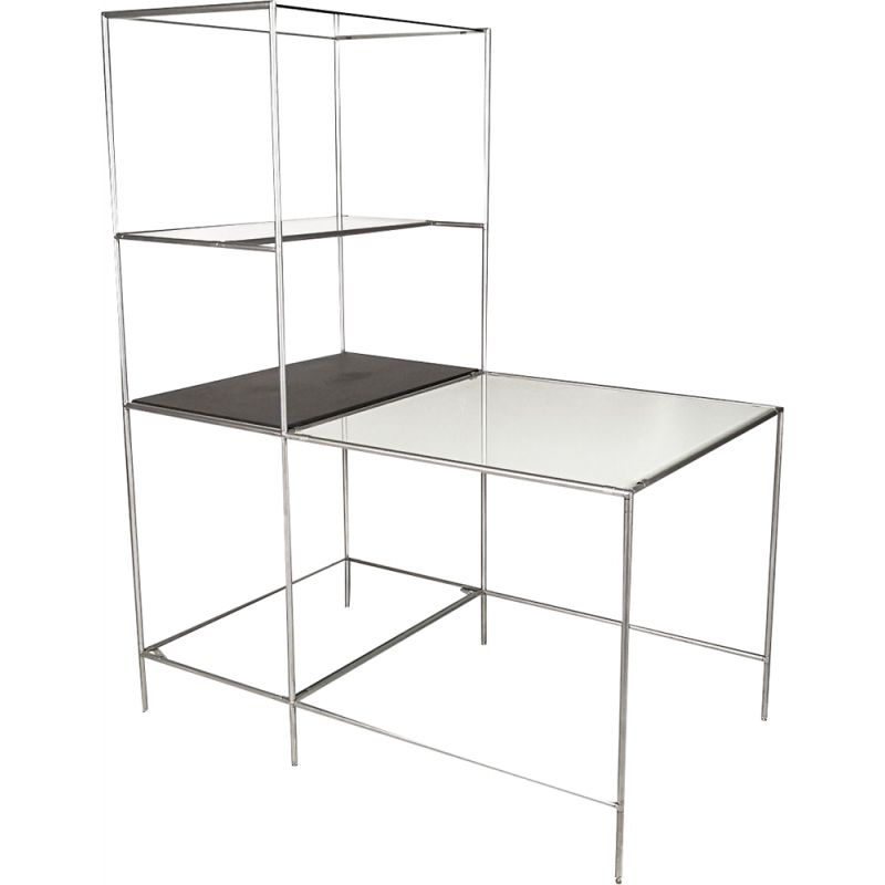 Vintage Abstracta shelf table by Cadovius in glass and grey steel 1960