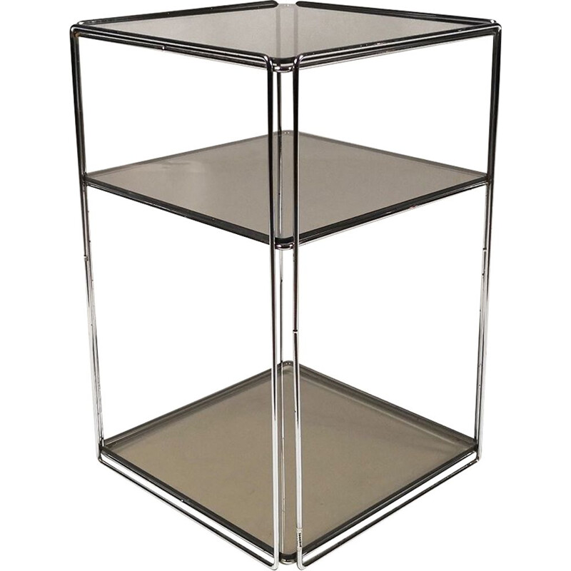 Vintage Isocele side table for Arrow in chrome tubular steel 1970