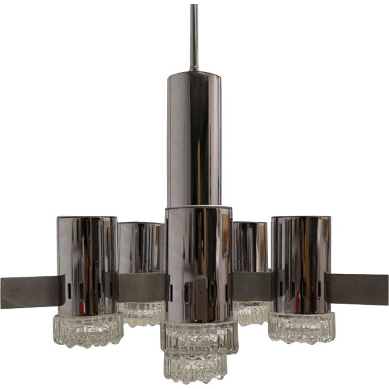 Gaetano Sciolari vintage chandelier in chrome and brushed steel 1970