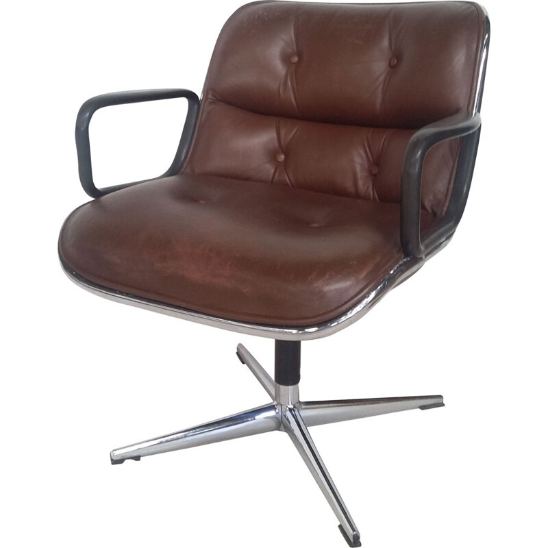 Charles Pollock's vintage armchair for Knoll in brown leather 1970