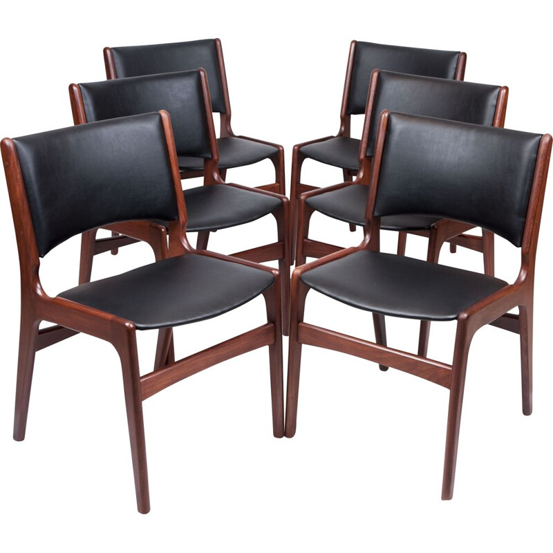 Set of 6 vintage dining chairs by Erik Buch Denmark 1960s