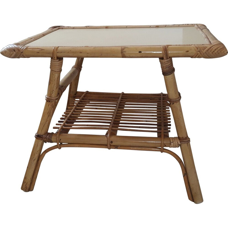 Vintage coffee table in rattan and bamboo France 1950