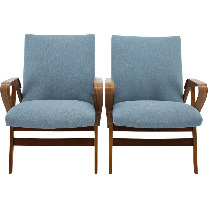 Set of 2 vintage armchairs by Tatra Czechoslovakia in blue fabric and wood 1970s